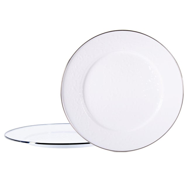Modern Charger Plates White on White - Set of 2 For Sale - Image 3 of 3