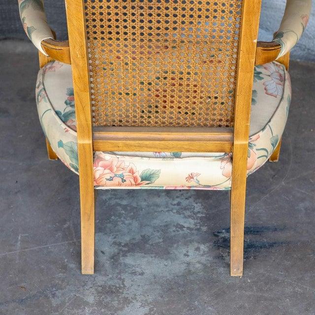 1920s 1920s Folk Art Blonde Cane Back Floral Print Armchair For Sale - Image 5 of 11