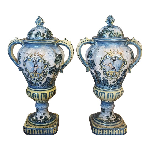Pair 19th C. Majolica Vases With Lids For Sale