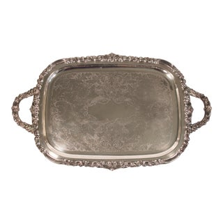 Mid Century Italian Large Silver Plate Footed Serving Tray With Handles For Sale