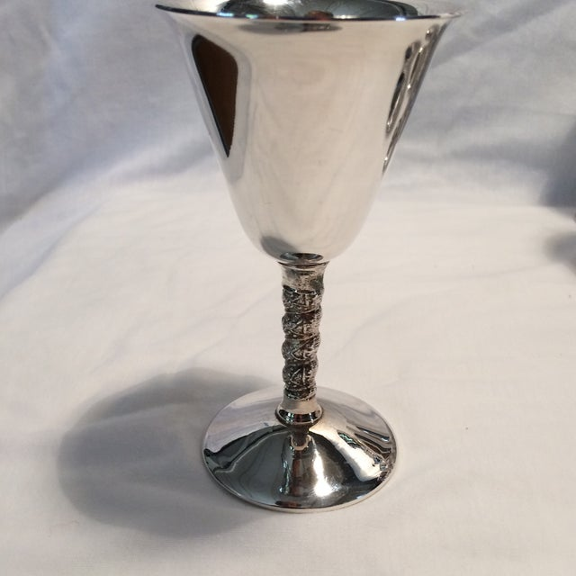 12 Vintage Silver Plated Rogers Rope Twist Wine Goblet made in Yugoslavia - Image 5 of 11