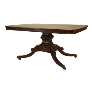 19th C. English Sheraton Mahogany Dining Table For Sale