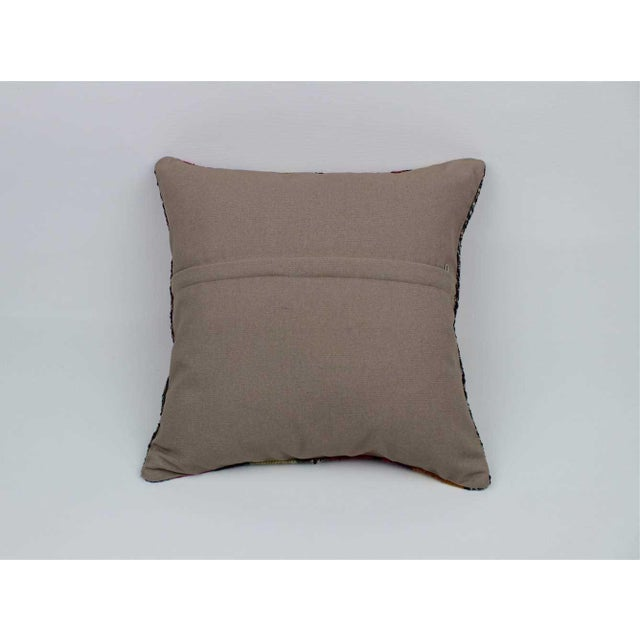 1930s Vintage Turkish Kilim Stiped Wool Rug Pillow Case For Sale - Image 5 of 6