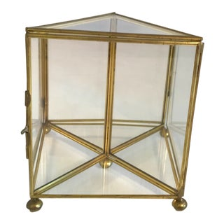 Vintage Mid-Century Brass and Glass Mini Display Case For Sale