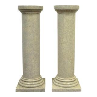 Faux Concrete Fiberglass Column Pedestals Sculpture Plant Stands - A Pair