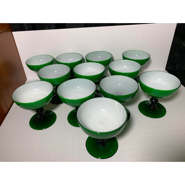 1960s 1960s Carlo Moretti Emerald Green and White Cased Glass Champagne Goblets - Set of 12 For Sale - Image 5 of 13