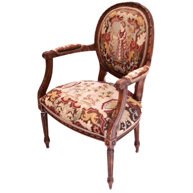 French-Style Needlepoint Armchair - Image 1 of 5