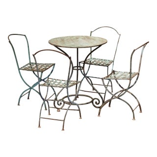 19th Century French Verdigris Iron Pedestal Table and Four Matching Chairs For Sale