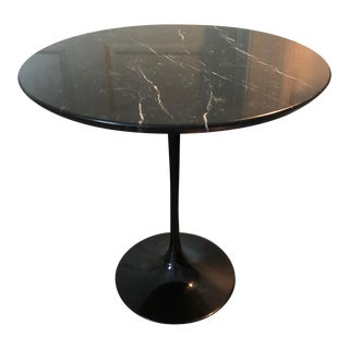 Black Carrara Marble Top Tulip Side Table For Sale
