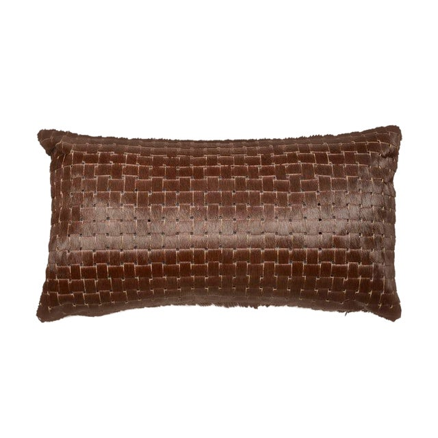 Contemporary Chocolate Brown Laser Cowhide Pillow For Sale