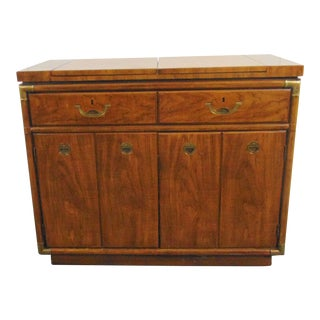 Drexel Mid Century Fruitwood Campaign Style Bar For Sale