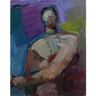 Jose Trujillo Abstract Portrait Figure Modern Nude Male Oil Painting For Sale