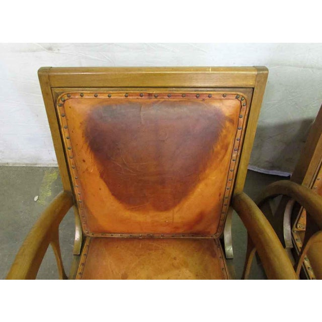 Mid 20th Century Carved Wood & Leather Lounge Chairs For Sale - Image 5 of 12