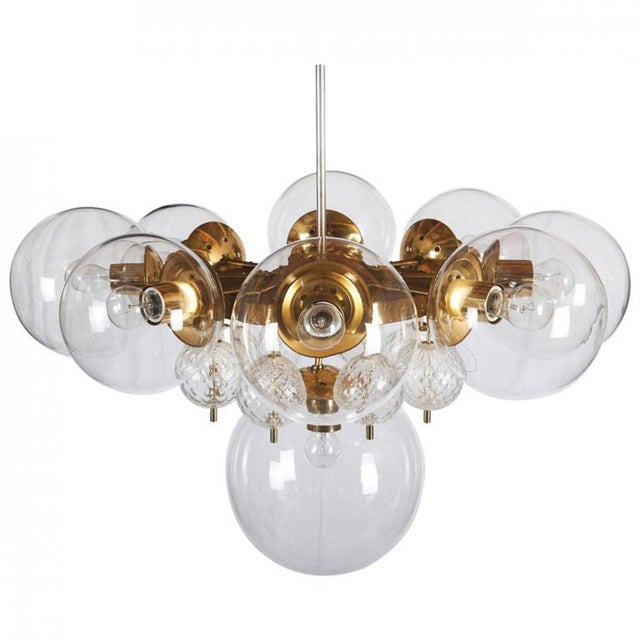 Large Brass Chandelier with Crystal Balls by Kamenicky Senov, 1960s For Sale - Image 9 of 9