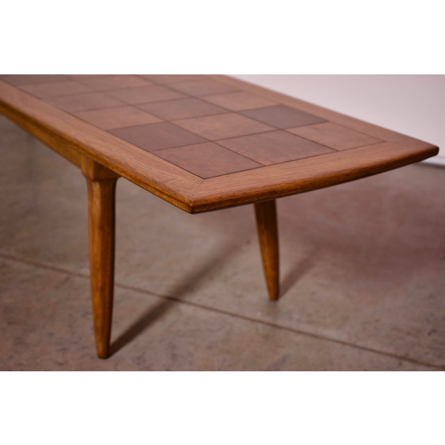 1950s Art Deco Tomlinson Burlwood & Oak Coffee Table For Sale - Image 10 of 12