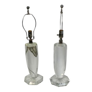 Visual Comfort Solid Glass Table Lamps - a Pair For Sale