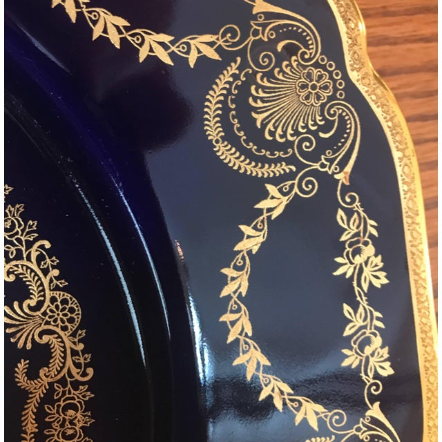 Early 20th Century 20th Century Edwardian Sumptuous Cobalt and Gold Service Dinner Plates - Set of 10 For Sale - Image 5 of 10