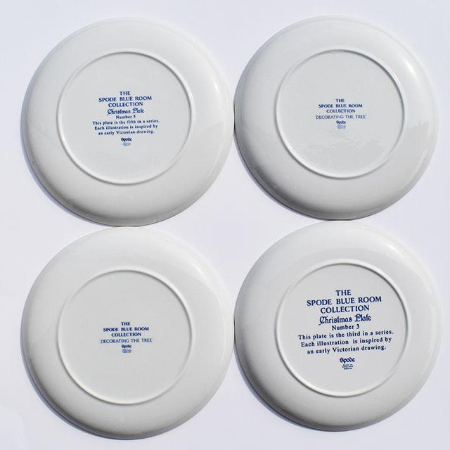 Ceramic Spode Georgian Blue and White Ceramic Christmas Plates - Set of 4 For Sale - Image 7 of 12
