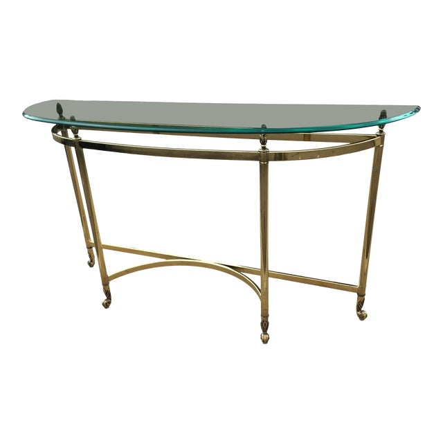 Mid-Century Labarge Brass & Glass Demi-Lune Console Table For Sale