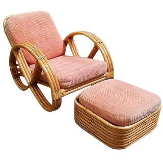 Restored Round Full Pretzel Rattan Lounge Chair & Ottoman For Sale