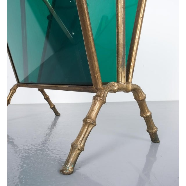 1950s Maison Baguès Faux Bamboo Green Lucite Magazine Rack For Sale - Image 5 of 8