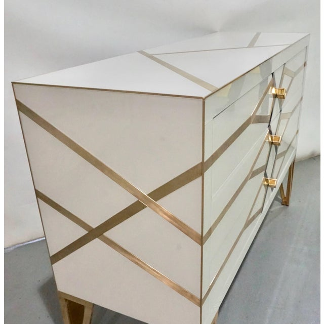 Contemporary Italian Art Deco Gold Brass Credenza For Sale - Image 9 of 13