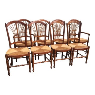 1980s Americana Fanback Cherry Dining Chairs - Set of 8 For Sale