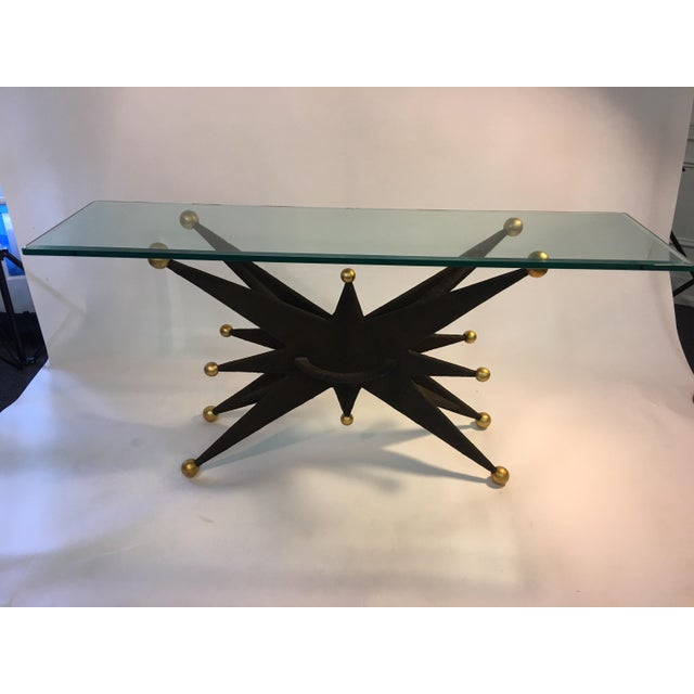 Amazing bronze textured and sculpted resin starburst and gold ball console table with great three dimensional sculptural...