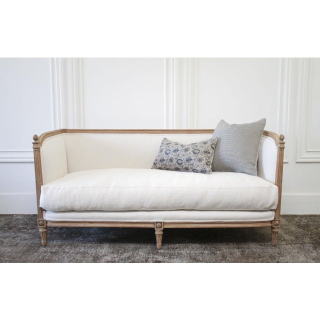 Antique Louis XVI Sofa Bleached Oak and Natural Linen For Sale In Los Angeles - Image 6 of 12