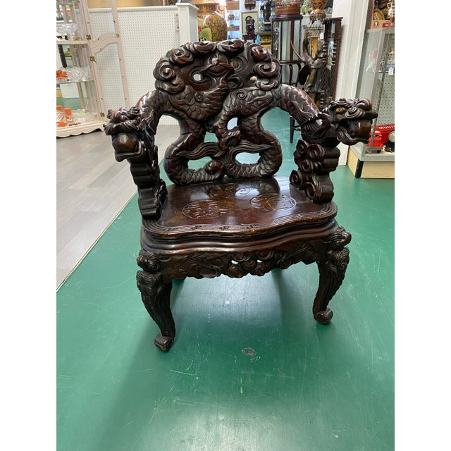 Chinese Vintage Carved Rosewood Oriental Dragon Chairs - a Pair For Sale - Image 3 of 12