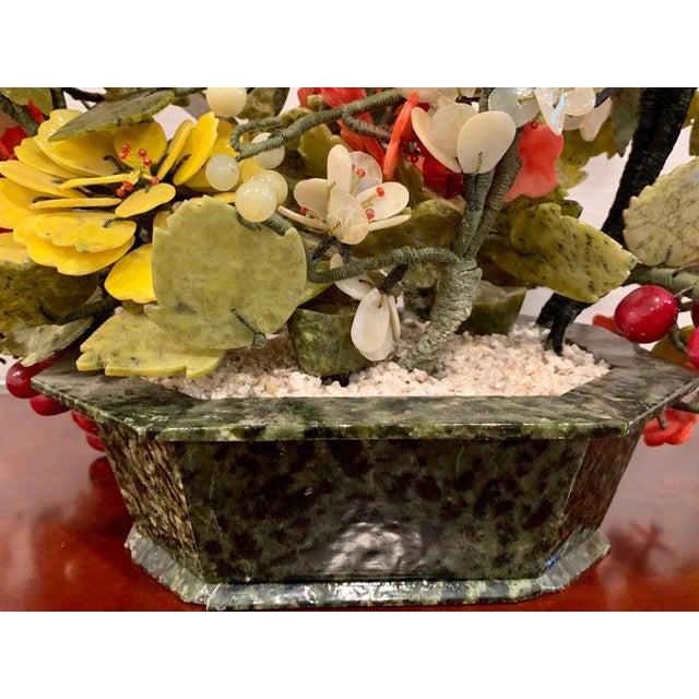 Boho Chic Vintage Chinese Export Hardstone Basket Floral Arrangement For Sale - Image 3 of 13