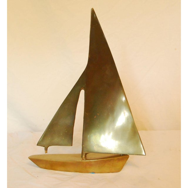 Vintage Heavy Brass Sailboat - Image 2 of 4