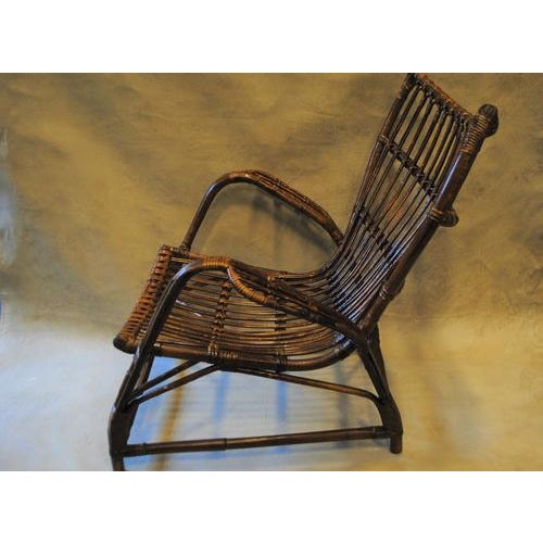 Contemporary Italian Rattan Bamboo Arm Chair For Sale - Image 3 of 8