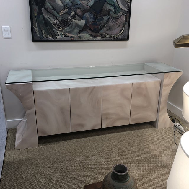 1980s Glass Top Credenza For Sale - Image 10 of 10