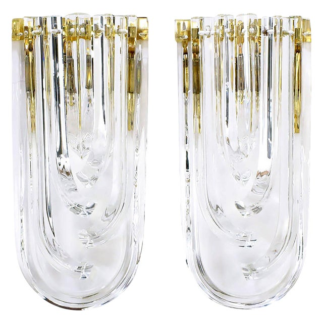 Pair of Venini Bent Crystal and Brass Sconces For Sale