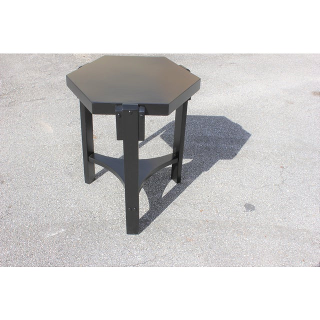 Wood 1940s French Art Deco Black Ebonized Coffee Table For Sale - Image 7 of 13