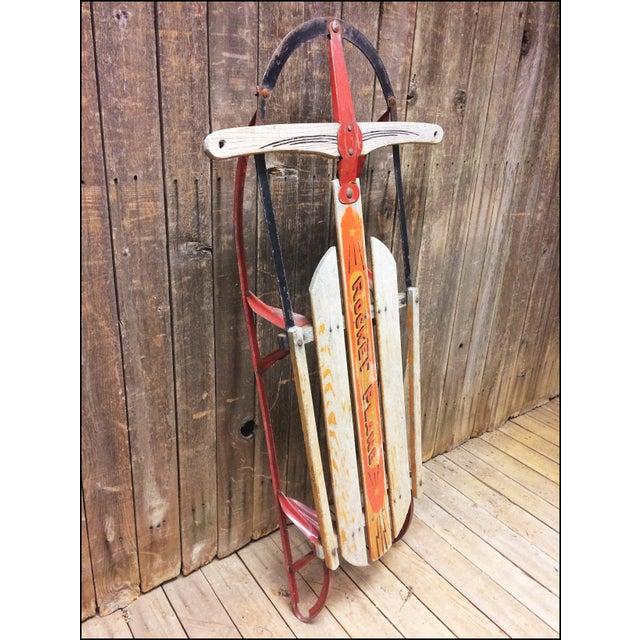 Vintage Weathered Wood & Metal Runner Sled -- Rocket Plane For Sale - Image 5 of 11