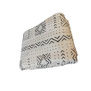 "Lg Black & White African Mud Cloth Fabric - 84"" X 60"" For Sale"