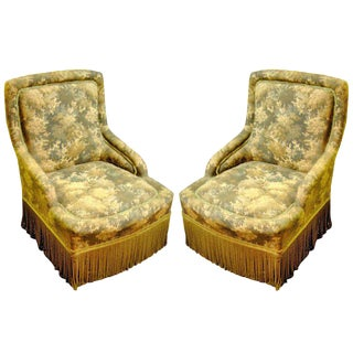 Charming Pair of English Slipper Chairs Covered in Tapestry Style Fabric For Sale