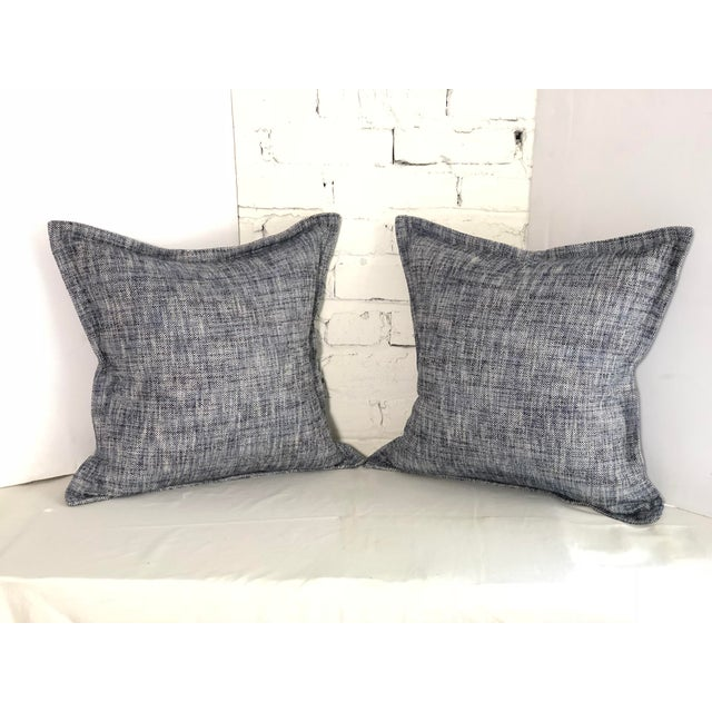"""Pair of 20"""" Cotton Tweed Pillows in Indigo Blue by Jim Thompson For Sale - Image 10 of 10"""