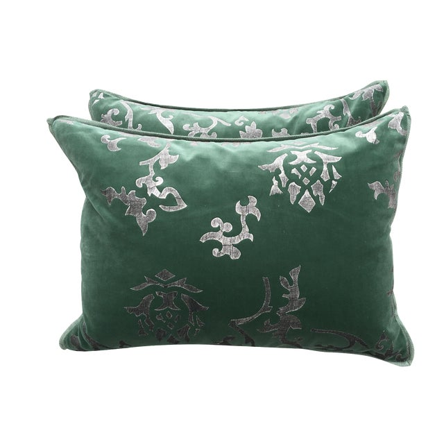 Silver Stencil Green Velvet Pillows - A Pair - Image 1 of 6