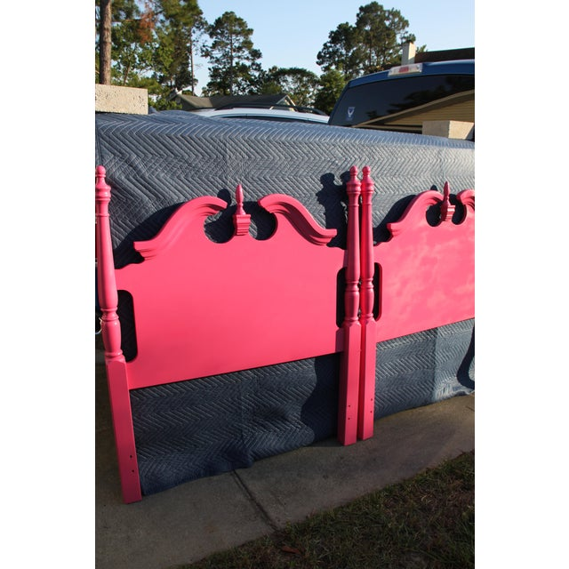 Hollywood Regency / Neo Classic / Geogian Glam Gloss Pink Twin Headboards - a Pair For Sale - Image 6 of 12