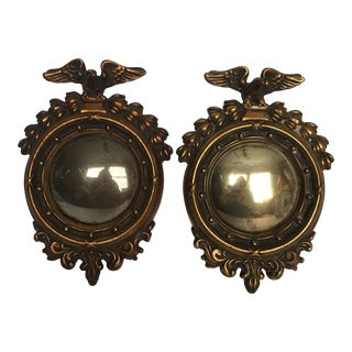 Small Bronzed Federal Convex Mirrors - A Pair