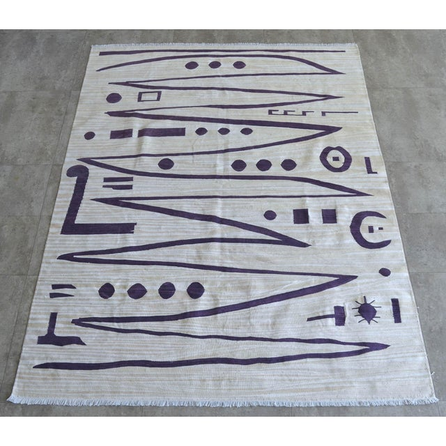 An unique handmade Kilim rug. This one of a kind rug produced only one piece in about 45 days by the our weavers. We used...