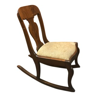 Small Victorian Wood With Beige Taupe Padding Armless Rocking Chair