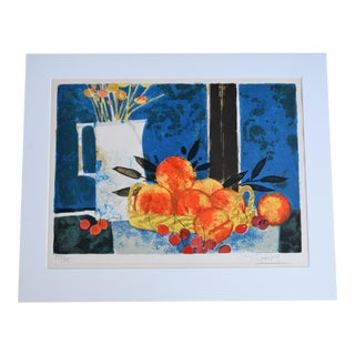 Hand Lithographed Still Life Print by French Artist Yves Ganne For Sale
