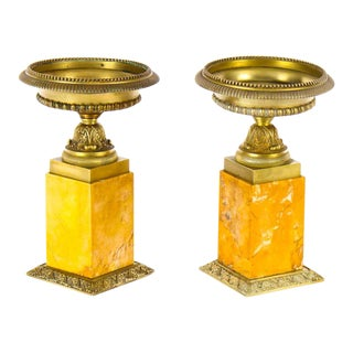 Late 18th Century Neoclassical Gilt Bronze and Sienna Marble Mantel Urns - a Pair For Sale