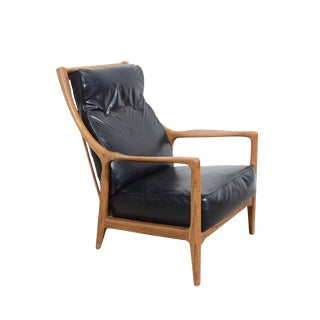 Mid Century Milo Baughman Style Lounge Chair Oak Recliner For Sale