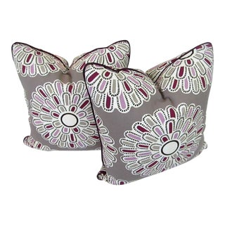 Taupe Floral Print Accent Pillows - A Pair For Sale