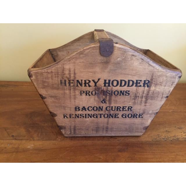 Metal Vintage Mid-Century English Wooden Cheese and Ham Monger Basket For Sale - Image 7 of 7